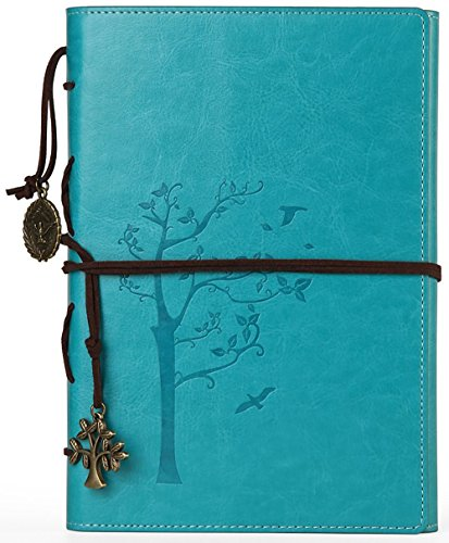 VALERY classic Leather Notebook-vintage Diary &Journal -Blank&lined Refillable Loose Leaf Pages-mediterranean &Middle Ages Design-men&women Daily Use Gift(Aqua -