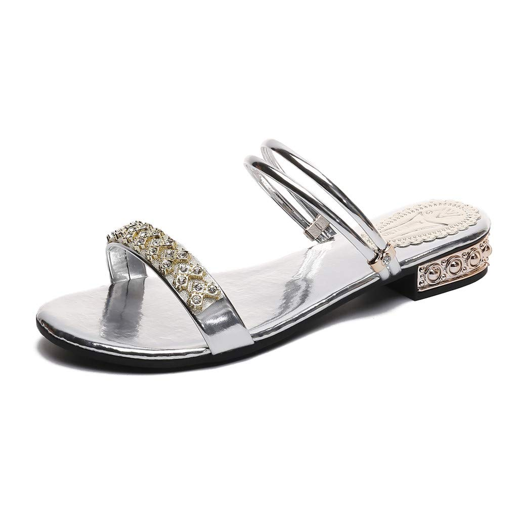 Women's Roman Shoes Slipper | Hopwin Ladies Girls Fashion Casual Crystal Two Flat Open Toe Sandals Slippers (36, Silver)