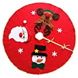 Asiproper 100cm Red Embroidered Non-woven Christmas Tree Skirt Xmas Home Ornament