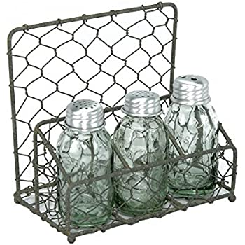 Amazon Com Chicken Wire Salt Pepper And Napkin Caddy Barn