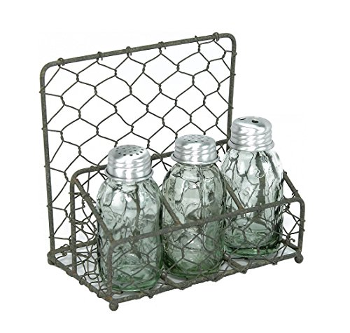 (Chicken Wire Salt Pepper and Napkin Caddy Barn Roof)