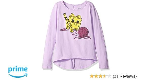 30642a07bd8c6 Amazon.com: Minecraft Big Girls Baby Ocelot AND Yarn Long Sleeve Tee,  Lavender, S 6/6X: Clothing