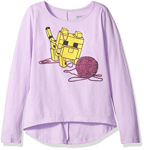 Minecraft Big Girls Baby Ocelot AND Yarn Long Sleeve Tee, Lavender, S 6/6X ()