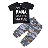 puseky Baby Boy Cool Hip Hop Letter T-Shirt Tops + Camouflage Leggings Pant Casual Suit (6-12M)