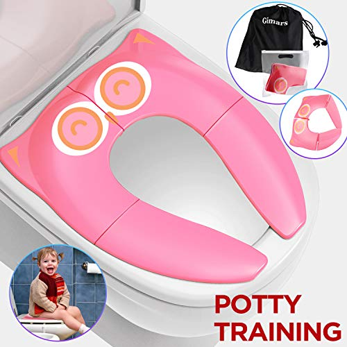 - Gimars Upgrade Folding Large Non Slip Silicone Pads Travel Portable Reusable Toilet Potty Training Seat Covers Liners with Carry Bag for Babies, Toddlers and Kids,Pink