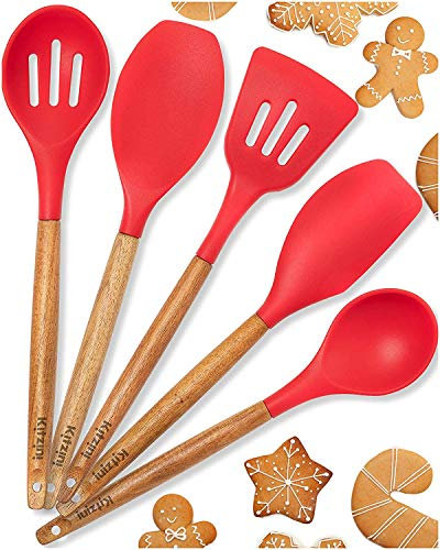 (Silicone Cooking Utensils Non Stick- For All Your Cooking And Serving Needs - Stylish Multipurpose Kitchen Utensil Set with Comfortable Acacia Wooden Handles and Silicone Heads In Canvas Bag (Red))
