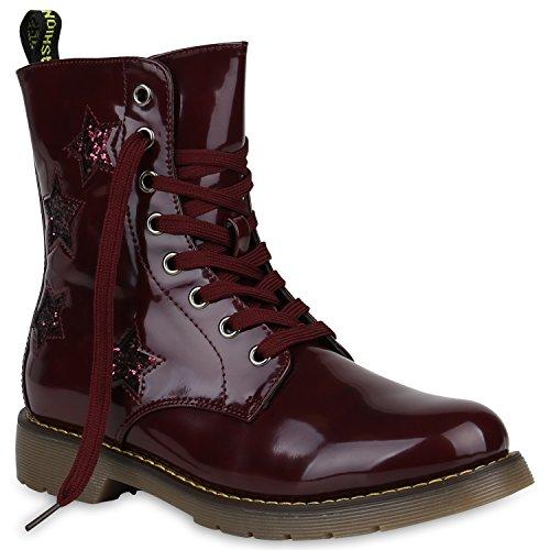 Stiefelparadies Damen Stiefeletten Worker Boots Profilsohle Flandell Dunkelrot Lack