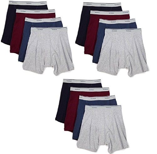 Fruit of the Loom Men's 12Pack Assorted Boxer Briefs 100% Cotton Underwear ()