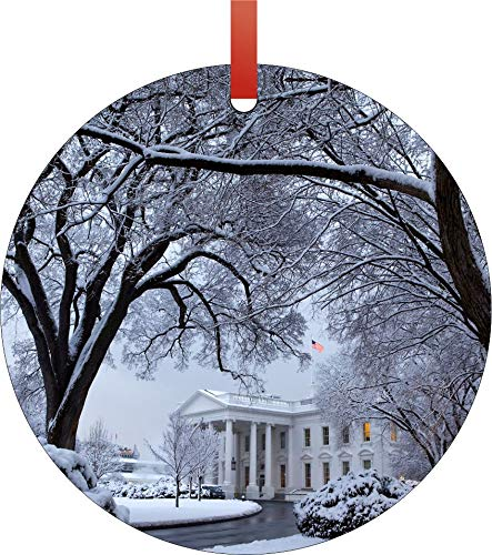 Jacks Outlet The White House in Washington D.C. on Christmas in The Snow Double Sided Round Shaped Flat Aluminum Glossy Christmas Ornament Tree Decoration (Best Outlets In Washington Dc)