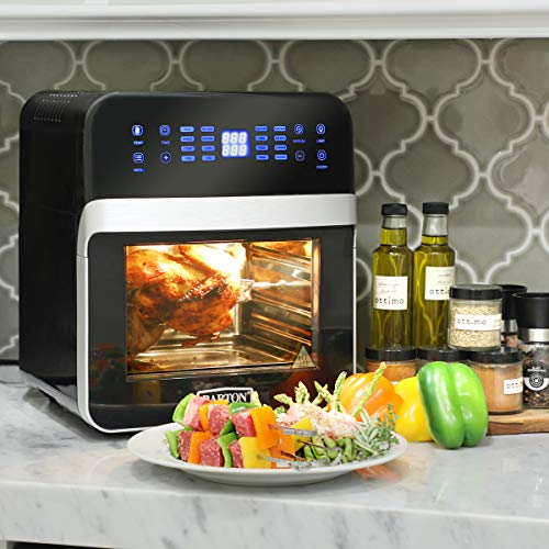 Barton 1600w Deluxe XL 16-in-1 Digital Electric Air Fryer Oven Cooker Rotisserie Programmable 13 Quart Viewing Window w/Recipes