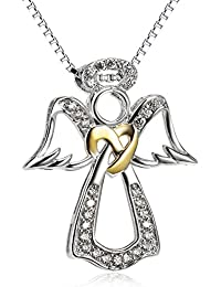 """S925 Sterling Silver Two-Tone Angel Wings Pendant Necklace for Women 18"""""""