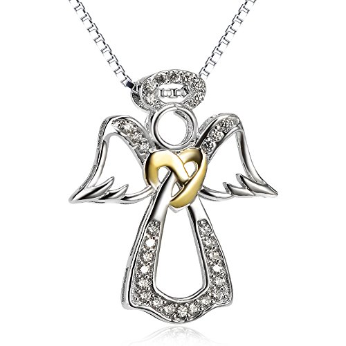 Two Tone 925 Sterling Silver Pendant Angel Wing Heart Jewelry Charms CZ Necklace For Women, 18'' (Necklace Angel Silver Guardian)