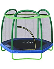 """Clevr 7ft Kids Trampoline with Safety Enclosure Net & Spring Pad, 7-Foot Indoor/Outdoor Round Bounce Jumper 84"""", Built-in Zipper Heavy Duty Frame   Great Gift"""