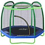 """Clevr 7ft Kids Trampoline with Safety Enclosure Net & Spring Pad, 7-Foot Indoor/Outdoor Round Bounce Jumper 84"""", Built-in Zipper Heavy Duty Frame 