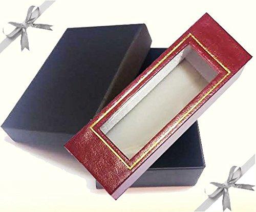 Charnière ouverture Bracelet jonc en argent sterling avec incrustations en cuir rouge dans le style Continental