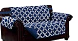 Kashi Home Navy/White Print w/Strap and 2 Side Pockets-Loveseat Macy Reversible Furniture Protector,