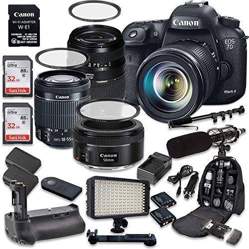 Canon EOS 7D Mark II 20.2MP CMOS Digital SLR Camera with Canon EF-S 18-55mm f/3.5-5.6 IS STM Lens + Tamron AF 70-300mm f/4-5.6 Lens + Canon EF 50mm f/1.8 STM Lens For Sale