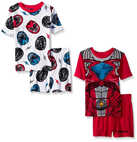 Power Rangers Big Boys' Cotton 4-Piece Pajama Set-Pr, Red, 8 (Short Rangers Power)