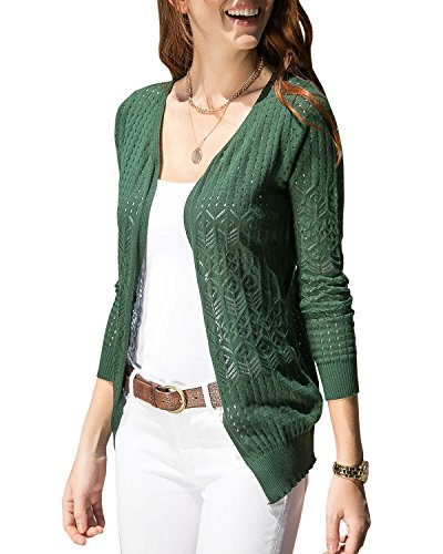 Huiyuzhi Women's Summer Crochet Cardigan Sweaters Lightweight Thin V-Neck Hollow Long Sleeve Soft Basic Knit Coats Green ()