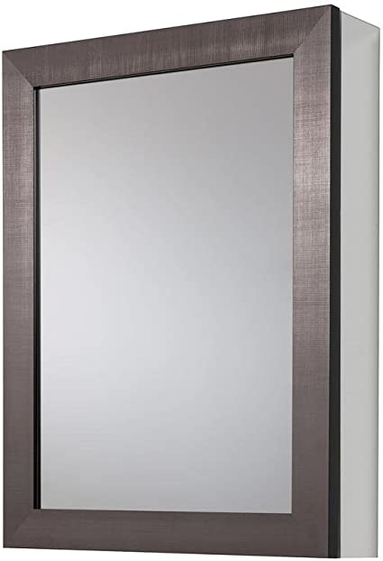 20 In X 26 In Framed Aluminum Recessed Or Surface Mount Bathroom Medicine Cabinet In Coppered Pewte Health Personal Care