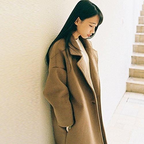 [thick] a khaki S Xuanku dans La Longue Robe Manteau en Laine Manteau en Laine Léger épaississeHommest LÂche