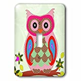 3dRose Florene - Decorative III - Image of Adorable Patchwork Owl - Light Switch Covers - single toggle switch (lsp_233699_1)