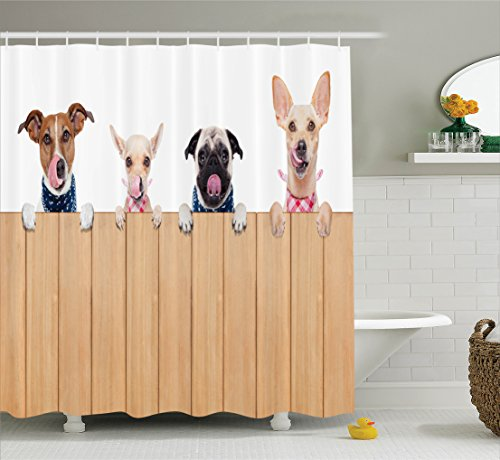 Ambesonne Dog Lover Decor Collection Row Of Hungry Dogs Tongue Sticking Out Behind A Wall Of Wood Lunch Time Art Polyester Fabric Bathroom Shower Curtain