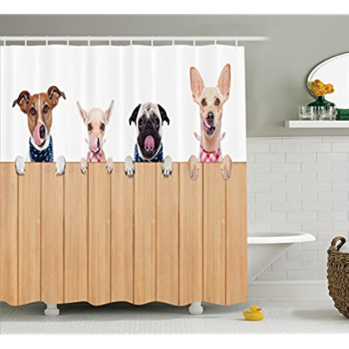Exceptionnel Ambesonne Dog Lover Decor Collection, Row Of Hungry Dogs Tongue Sticking  Out Behind A Wall Of Wood Lunch Time Art, Polyester Fabric Bathroom Shower  Curtain ...