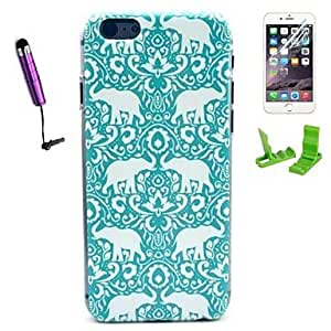 LCJ Flower Elephant Pattern PC Hard Case with Stylus Pen and Screen Protector for iPhone 6