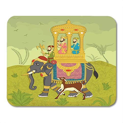 Emvency Mouse Pads Colorful Mughal King on Elephant Ride in Indian India Wedding Royal Mouse pad 9.5