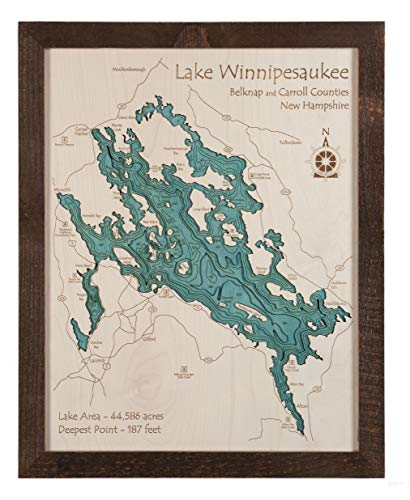 Indian Lake - Westmoreland County - PA (Proof Required) - 3D Map 16 x 20 in (Brown Rustic Frame with Glass) - Laser Carved Wood Nautical Chart and Topographic Depth map.