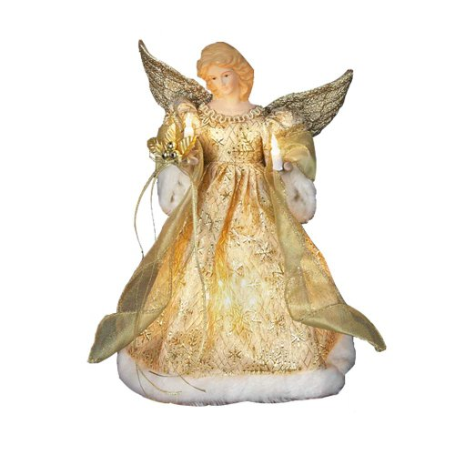 Kurt Adler UL 10-Light 12-Inch Gold Dress Angel