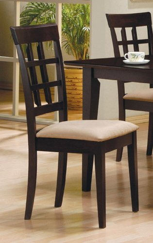 Side Chair with Wheat Back Design (Set of 2) in Rich Cappuccino - Coaster ()