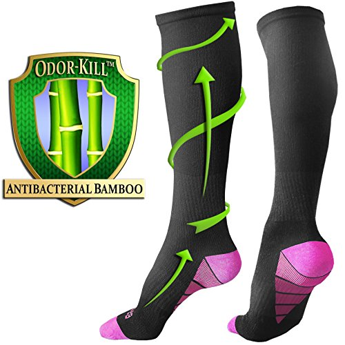 [Odor-Free] Bamboo Compression Socks for Men, Women by BAMS | Best SOFT Antibacterial 15-20 mmHg Medical Graduated Knee High Sock for Pain, Swelling, Injury, Sports, Diabetic, Nurse, Maternity, (Maternity Nurse)