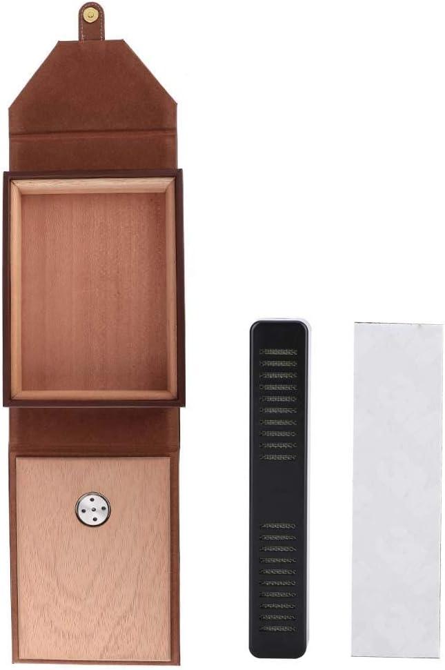 Brown Mini Portable Leather Humidor Cedar Cigar Travel Case Cedar Wood Portable Travel Outdoor Humidor Case Cigar Holder Storage Box Atyhao Cigar Case