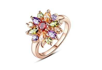 Dixey Luxury Anillos de Oro Rose Gold Finger Ring for Women with AAA Multicolor Cubic Zircon