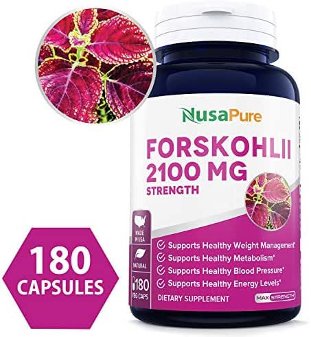 Pure Forskolin 2100mg Per Veggie Caps - 180 Capsules (Non-GMO & Gluten Free) - Weight Loss Fuel - Belly Buster Fat Burner - The Stronger The Better