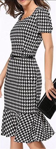 Dress Western Waist Jaycargogo Package Accept Short Belted Hip Fishtail Womens Sleeve Plaid 1 Checked Un4B7qw