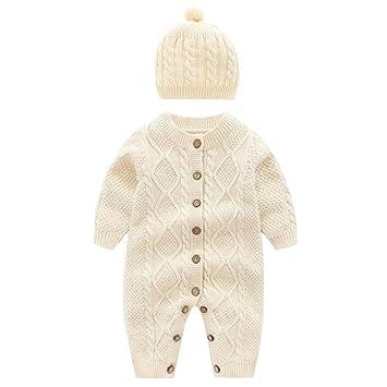 Newborn Baby Girls Infant Hat Cap+Long Sleeve Romper Bodysuit Playsuit 2PCS Set