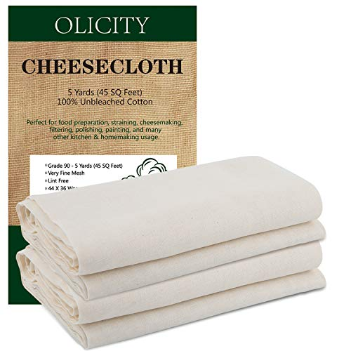 Olicity Cheesecloth, Grade 90, 45 Square Feet, 100% Unbleached Cotton Fabric Ultra Fine Cheesecloth for Cooking, Strainer, Baking, Hallowmas Decorations (5 Yards)
