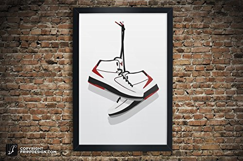 "Air Jordan 2 ""Black"", ""White"" Illustration, Vintage Hanging"
