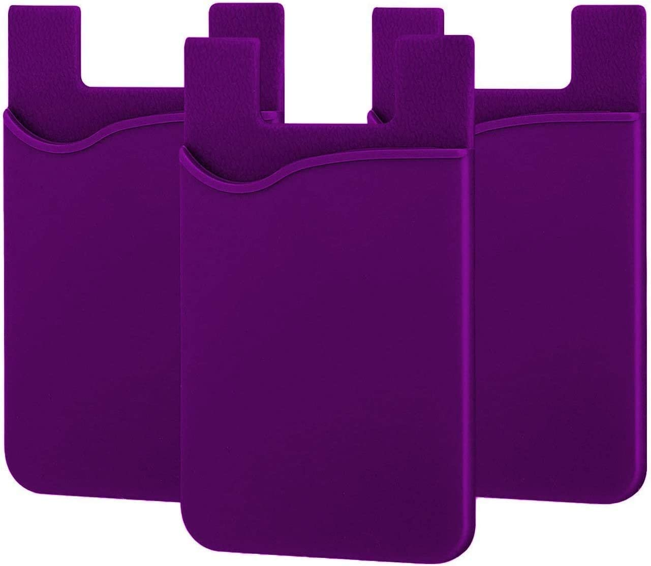 Localtech | Cell Phone Silicone Card Wallet, with 3M Adhesive Stick-on fits Apple iPhone Samsung Galaxy Android Most Smartphones, Table, Refrigerator, Door. (3 Pack) (Purple)