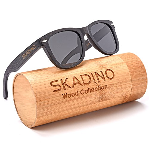 SKADINO Wayfarer Bamboo Sunglasses with Polarized lenses-Handmade Floating Wood Shades for Men&Women-Polished - Like Sunglasses