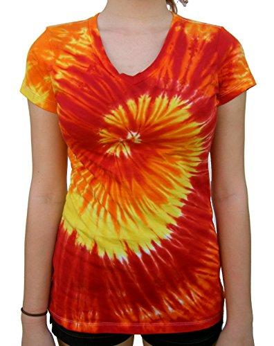 Rockin' Cactus Women's(Reg) V-Neck Tie Dye Shirt-Fire Spiral-2X