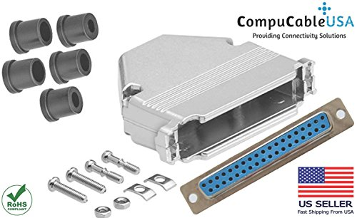 CompuCablePlusUSA.com Best DB37 Female Solder Type Connector Kit With DB37 Metal Hood+Strain Relief Grommet Best Complete DB37 Female Solder Type set Fix/Make/Assembly your own DB37 ()