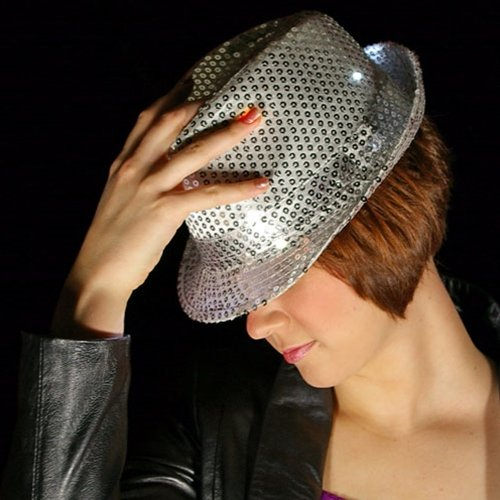 [LED Lighted Fedora Hat with Sequins, Battery, Multi Function, SILVER] (Michael Jackson Decorations)