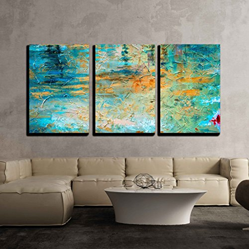 wall26 - 3 Piece Canvas Wall Art - Abstract Oil Paint Texture on Canvas - Modern Home Decor Stretched and Framed Ready to Hang - 24