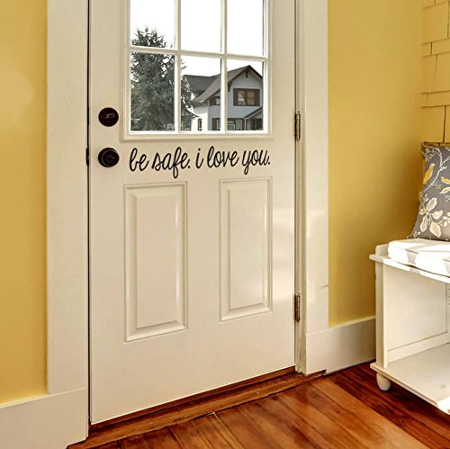 "N.SunForest Door Decal Modern Farmhouse Style for Front Door Decals Door Vinyl Decal 23.5"" W x 4.3"" H Be Safe I Love You"