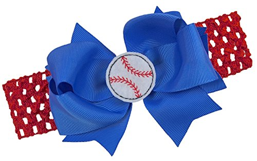 Baseball Team Fan Bow and Crochet Headband Fits Newborn to Toddlers Funny Girl Designs (RED BAND / ROYAL BLUE BOW) (Bows Baseball)