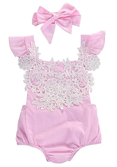 98831497c0 Calsunbaby Infant Baby Girls Outfit Floral Jumpsuit Romper Playsuit +  Headband Clothes (Pink